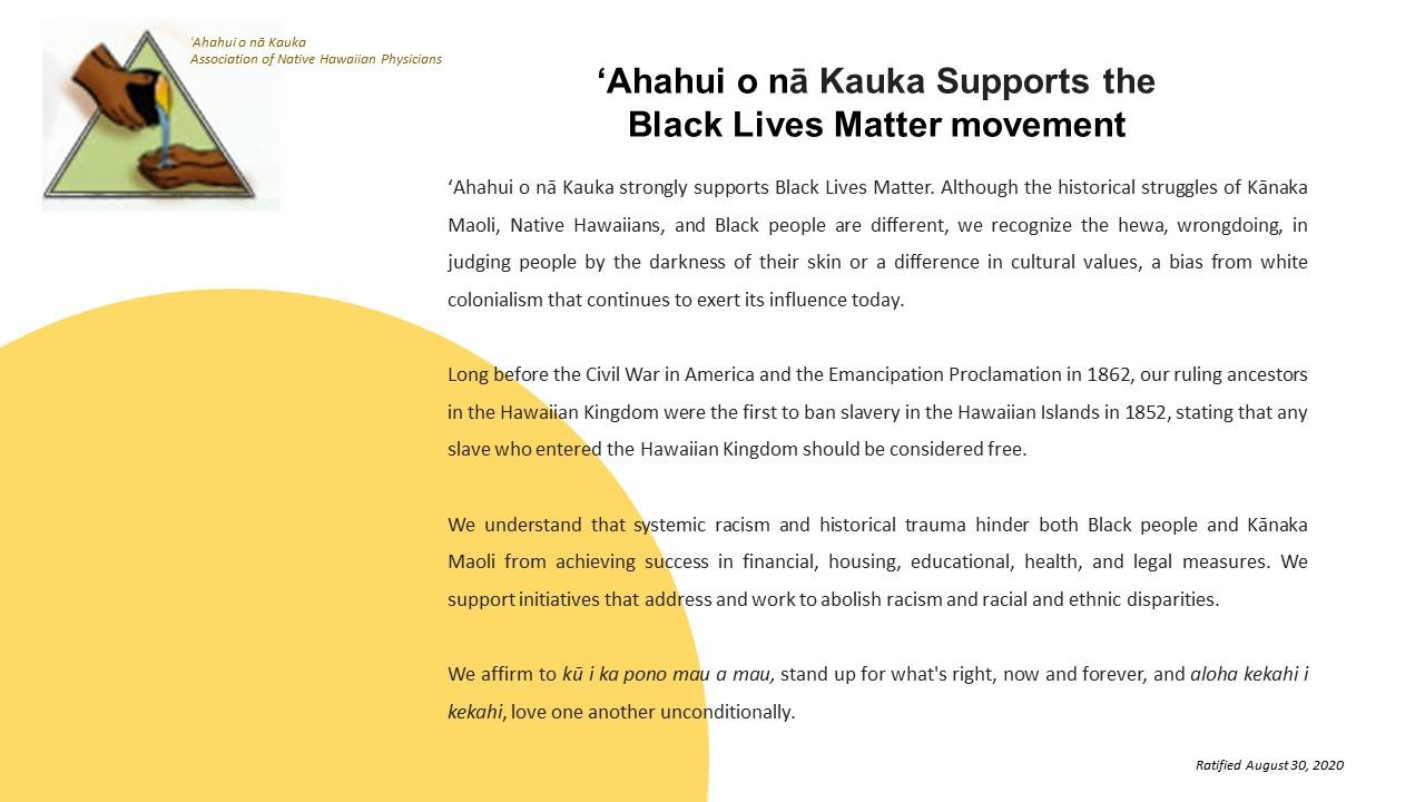 ʻAhahui o nā Kauka Supports the Black Lives Matter movement